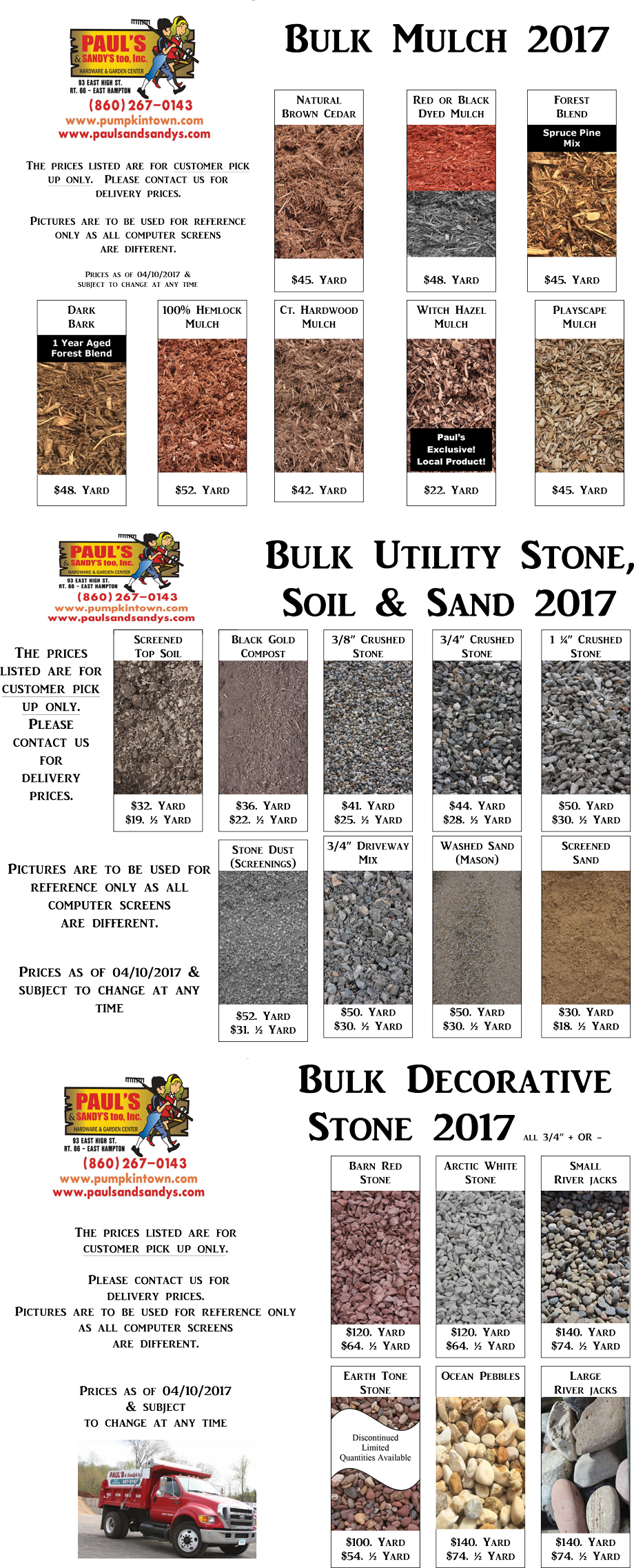 Bulk materials paul s and sandy s too for Homeowner selection sheet